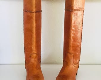 70s Leather Boots Size 5 M 35 made in USA by Frye