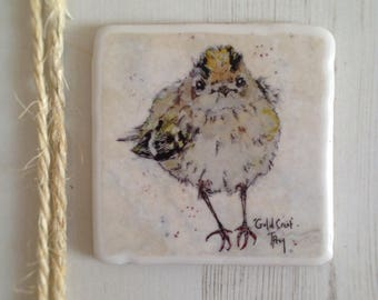 Wall Tile, Gold Crest, Animal Coaster, Ceramic, Tile coaster, Bird, hand made, Decor, Interior Kitchen, Animals, British Wildlife, Country