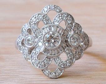Art Deco Style Diamond Ring - Art Deco Engagement Ring - Estate Diamond Ring - Diamond Engagement Ring - Size 7 Engagement Ring