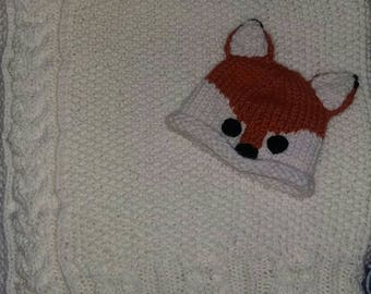 Knit Owl Baby Blanket with Fox Hat