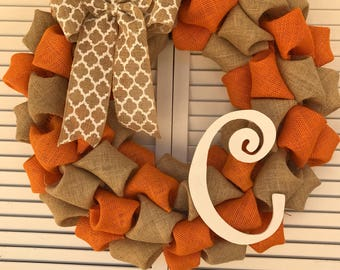 CPM Initial Letter C Burlap Wreath in Natural and Orange with White Medallion Bow - fall wreath