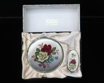 Vintage Kigu Unused Powder Compact Set With Lipview And Box And Sifter, Bridesmaid Gift, Roses
