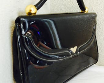 VERY BEAUTIFUL Vintage Black Patent Leather Handbag Made In USA By 'Morris Moskowitz' - Lovely!!