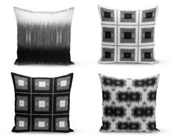 Black White Pillow Covers, Black white Grey, Decorative Pillow Covers, Home Decor, Throw Pillow Cover, Geometric