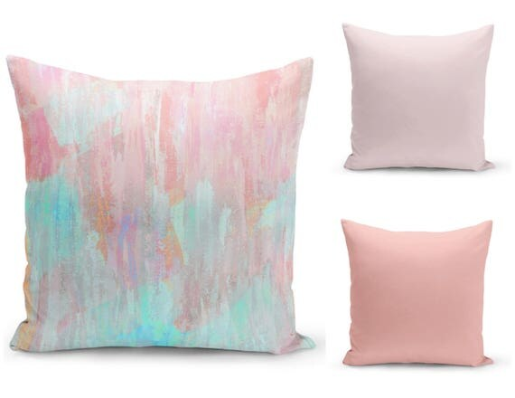 Pastel Throw Pillow Cover Abstract Modern Print Pink Peach