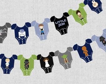 Star Wars baby shower Banner, instant download digital printable file, starwars characters, onesie star wars banner, cute starwars party