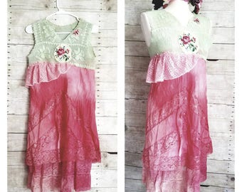 Pink Sunshine Shabby floral strawberries n lime lace antique layered peasant repurpose country ruffle Boho mori slip Dress romantic S