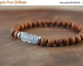 SALE Aquamarine Bracelet, Sandalwood Bracelet, Natural Aquamarine, Sterling Silver, Gemstone Bracelet, Natural Gemstone, March Birthstone