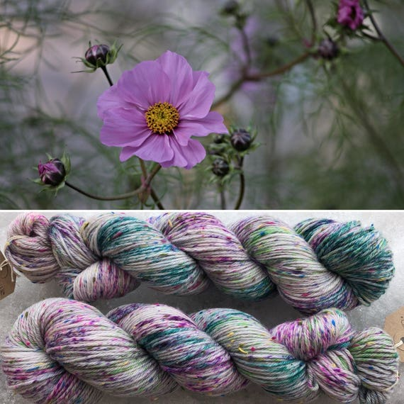 Meadow Bouquet DK, speckled indie dyed merino yarn grey gray with Donegal nep