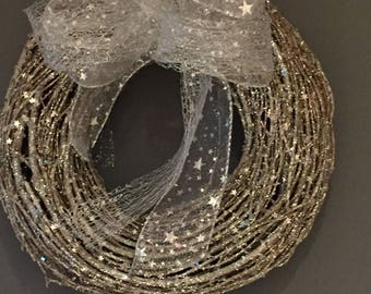 Sparkle wreath, silver glitter wreath, Christmas wreath, door decoration, winter wreath. Star wreath