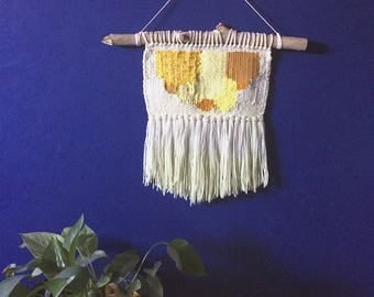 Large Yellow Scallop Woven Wall Hanging Weaving
