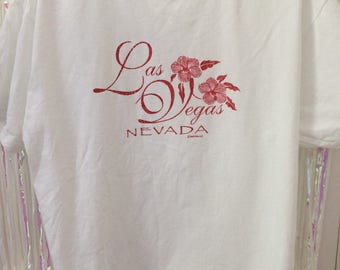 Las Vegas red glitter printed white tee t shirt L