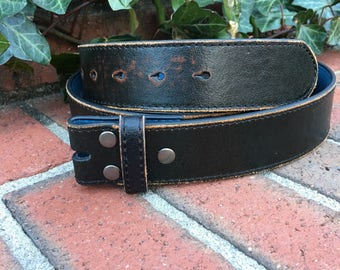 xx-large Belt strap Black vintage distressed leather belt snap belt belt with snaps belt for interchangeable buckles size size 43-45""