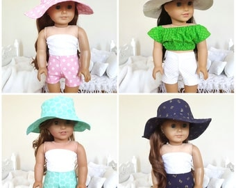 18 inch doll sun hats & shorts | white, blue, pink, turquoise sun hats