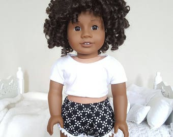 18 inch doll shorts | black & white shorts