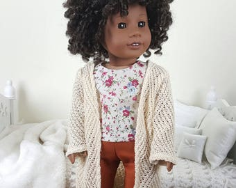 18 inch doll 3 piece outfit | orange jeans | floral top | knit cardigan