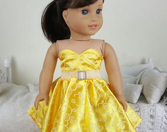 18 inch doll yellow party dress | yellow glitter skater dress