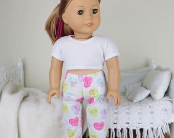 "18 inch doll valentine pajama pants | ""conversation hearts"" print pajama pants"