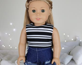 18 inch doll dark wash distressed denim shorts | black & white striped crop top