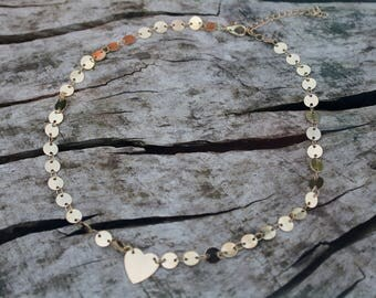 Gold Heart Coin Chain Layering Necklace *Dainty Boho Festival*