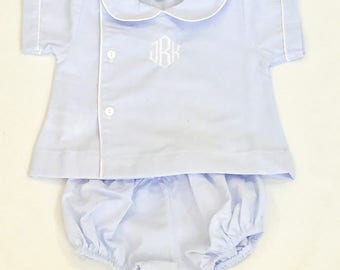 monogrammed boys diaper set - personalized baby gifts - personalized baby outfit - baby boy bubble -blue diaper set with monogram - twins