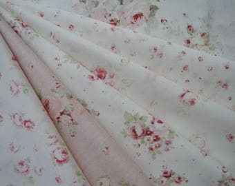 "Bundle of 1/8 Lecien Durham Quilt Collection Beautiful Roses Set. Approx. 9"" x 21"" Made in Japan"