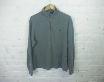 Polo Ralph Lauren sweater pull over zipper 90s gray