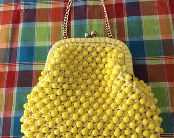 Yellow Beaded Clutch Bag by Donna FREE SHIPPING