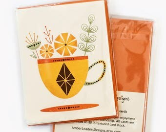 Tea for Two Set of four notecards by Amber Leaders