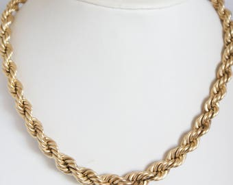 Vintage 12k Gold Filled gf Thick Heavy Rope Necklace 54.6gms Mid Century Chic 1950s Hallmarked