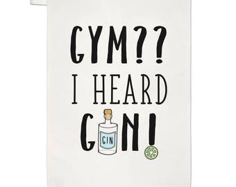 Gym I Heard Gin Tea Towel Dish Cloth