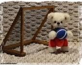 Ben ours d'artiste de collection football 10cm ours décoration alpaga sculpture textile cadeau fait main