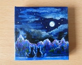 Tiny Purrfect Night Acrylic Painting on Canvas, Miniature Painting, Original Artwork, Fine Art, Small Canvas, Art & Collectibles