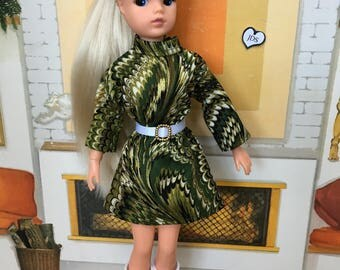Gold and green 60s style dress for adult Sindy collectors