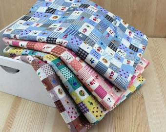 145 cm / 57 inch, Cute Flower Floral Checkered Checks Pattern Cotton Fabric, Half Yard