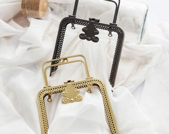 1 PCS, 13 cm/ 5 inch Length, Top Grade Squared Metal Frame Kiss Lock with Handle in Black Antique Brass for Purse Bag DIY