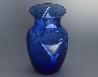 Daily Affirmations in Cobalt Swirl Vase