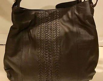 SUMMER  CLEARANCE SALE Vintage Braided Brown Leather Shoulder Bag