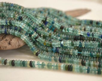 "15"" Strand- Ancient Roman Glass Beads- Afghanistan Beads- Rondelle Beads (1046-RB)"