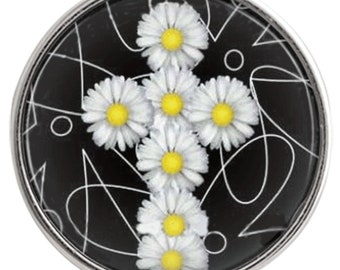 C0894  Art Glass Print Chunk - Spring-Like Flower Cross