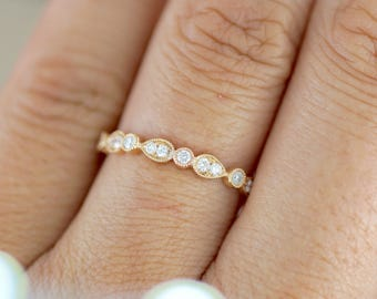 18k Rose Gold Diamond FULL ETERNITY Vintage Art Deco Wedding Anniversary Band Ring Pear Round Shape
