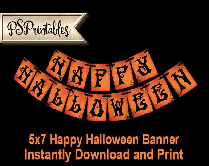 Printable Happy Halloween Banner, DIY halloween decorations, Halloween sign, Fall decorations, Halloween decor, printable decor, fall sign
