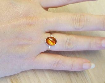 Amber Ring. 925 sterling silver.  Reiki jewelry. January birthstone. Russian pressed amber 10x8mm US size 5, UK size J