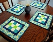 Quilted table decor, green blue white floral quilted set of four patchwork place mats, modern fabric mats