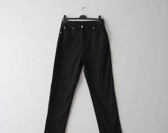 Vintage High Waist Straight Leg Women Jeans Black 80's Style Jeans Size Large