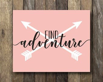Adventure Print - Instant Download Art - Tribal Nursery Decor - Pink Wall Art - Find Adventure Print - Pink Nursery - Tribal Nursery Art