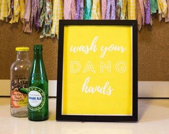 Bathroom Printable Wall Decor, Printable Wall Art, Wash Your Hands, Yellow and White
