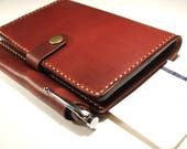 Handmade Tan Leather Field Notes and Passport Cover with credit card pockets and boarding pass slot.