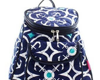 Quilted Geometric Anchor Backpack With Free Monogram