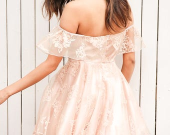 Lace Floral Style Prom/Evening Off the Shoulder Dress